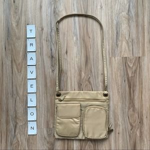 TRAVELON Tan Nylon Crossbody Bag Zipper Pockets